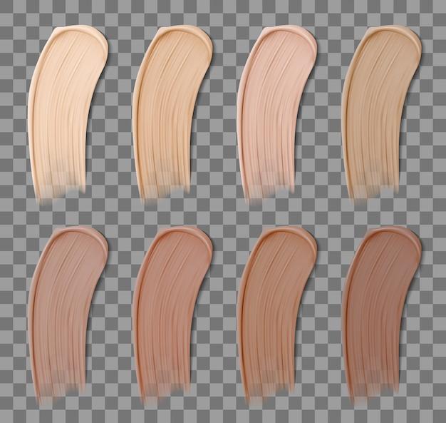 Fundação de maquiagem realista. corretivo líquido de conjunto de manchas de cores de pele diferentes. ilustração colorida das fundações da amostra. conjunto de cuidados com a pele suave traços de protetor solar