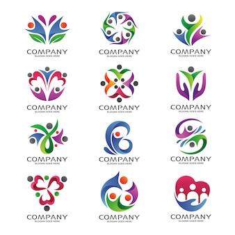 Fundação de pessoas e conjunto de logotipo da comunidade