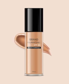 Fundação isolada vetor de cosméticos realista frascos de cuidados com a pele rótulo design colocação de produto