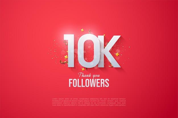 Fundo 10k follower com efeito bokeh que cobre a figura.