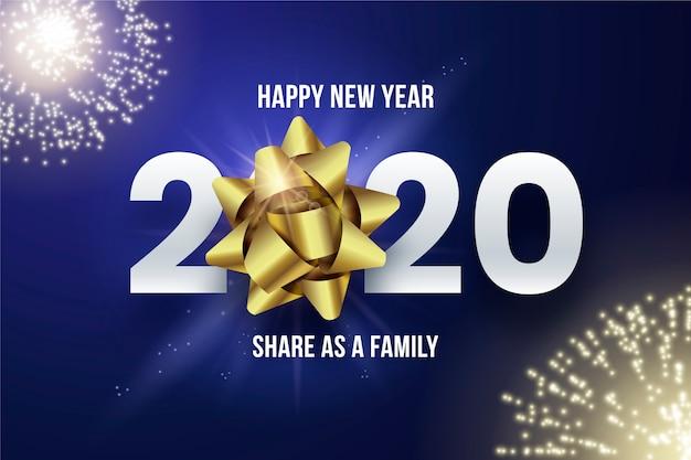 Fundo 2020 realista com fogos de artifício