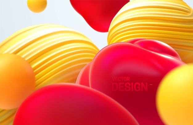 Fundo 3d abstrato com bolhas vermelhas e amarelas