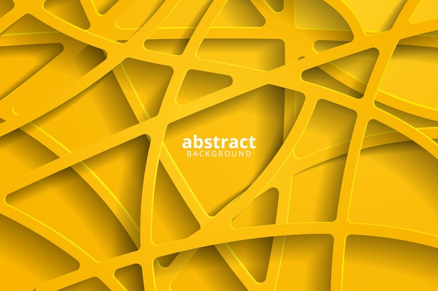 Fundo 3d abstrato com corte de papel amarelo.
