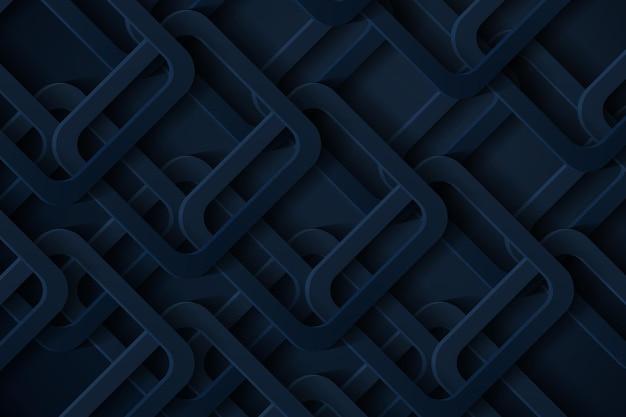 Fundo 3d abstrato com corte de papel azul escuro de formas geométricas. Vetor Premium