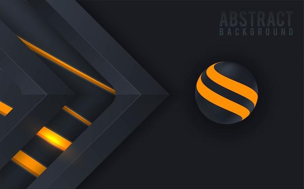 Fundo 3d abstrato com esfera colorida e corte de papel preto.