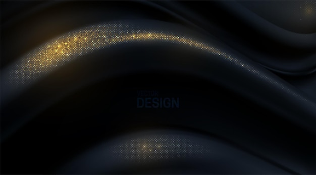 Fundo 3d abstrato com forma de onda curvilínea preta com brilhos dourados