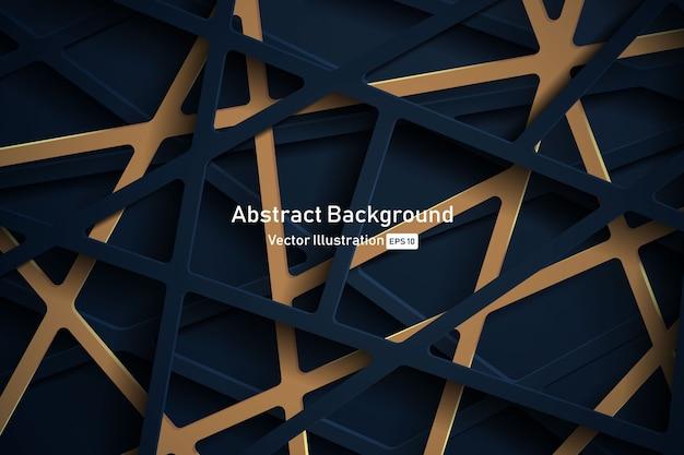 Fundo 3d abstrato com recorte de papel azul escuro.