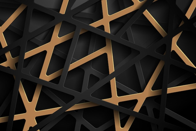 Fundo 3d abstrato com recorte de papel preto e dourado escuro.
