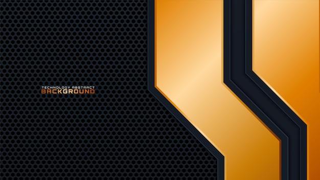 Fundo 3d abstrato preto com uma combinação com linha ouro. conceito de luxo para texto, design de plano de fundo, capa, banner, publicidade
