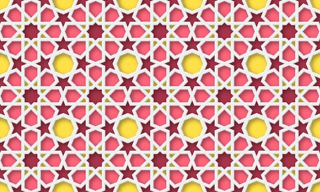 Fundo 3d árabe. padrão geométrico islâmico em estilo tradicional, ornamento muçulmano. ilustração.