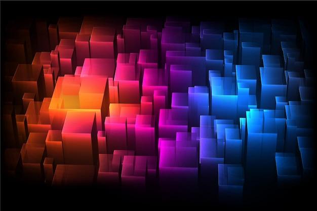 Fundo 3d colorido com cubos de tamanhos diferentes