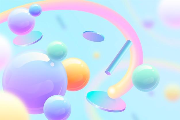 Fundo 3d com céu azul abstrato e formas
