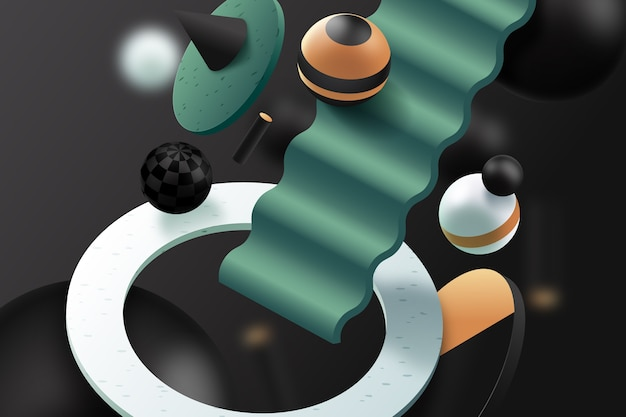 Fundo 3d com esferas e escadas