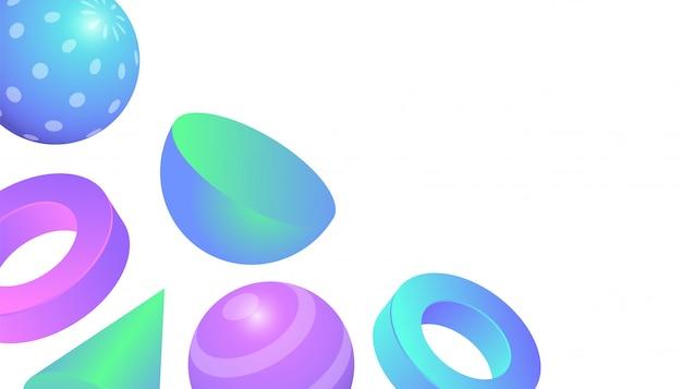 Fundo 3d de formas geométricas com gradiente de cor pastel