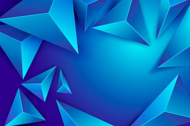 Fundo 3d do triângulo azul com efeito poli