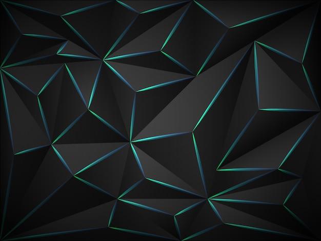 Fundo 3d escuro poli baixo com linhas de néon azuis.