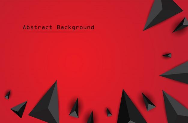 Fundo 3d geométrico preto abstrato. ilustração vetorial no fundo vermelho.
