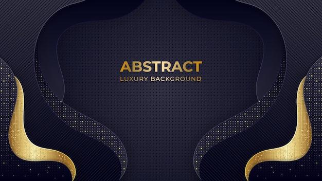 Fundo 3d luxuoso abstrato com camadas de papel preto.
