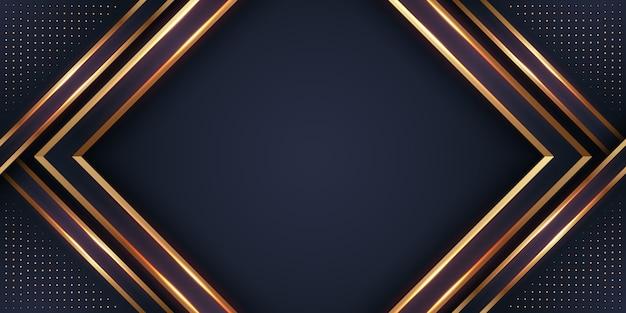 Fundo 3d preto e dourado luxuoso.