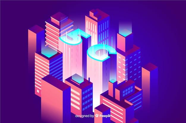 Fundo 5g isométrico e conceito de conexão