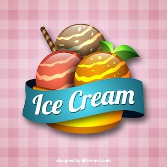 Fundo a xadrez com sorvete apetitoso
