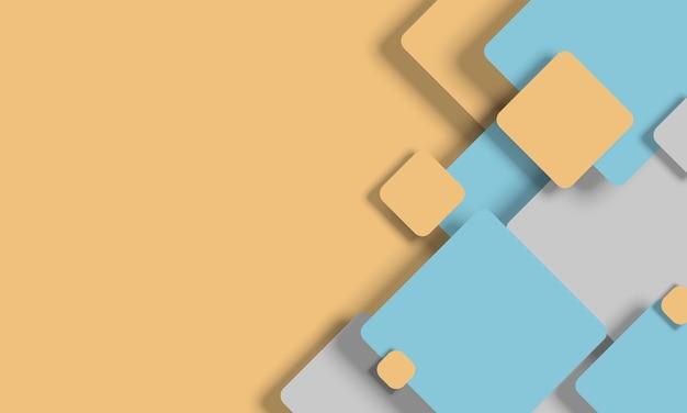 Fundo abstrato 3d azul claro amarelo branco quadrados geométricos forma projeto papel corte estilo