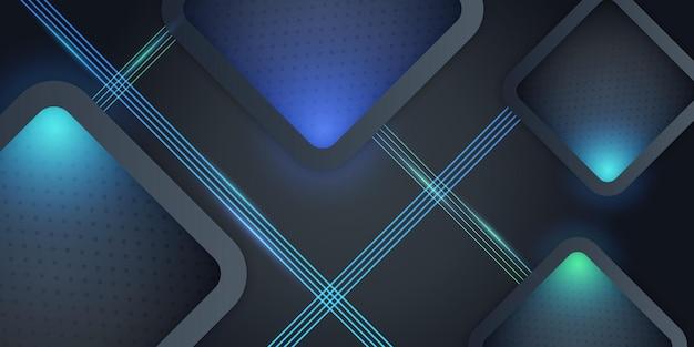 Fundo abstrato 3d azul escuro brilhante moderno com padrão de textura de metal e decoração leve. formas de camadas sobrepostas e conceito futurista