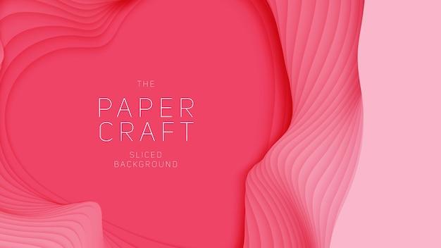 Fundo abstrato 3d com forma de coração de corte de papel rosa.
