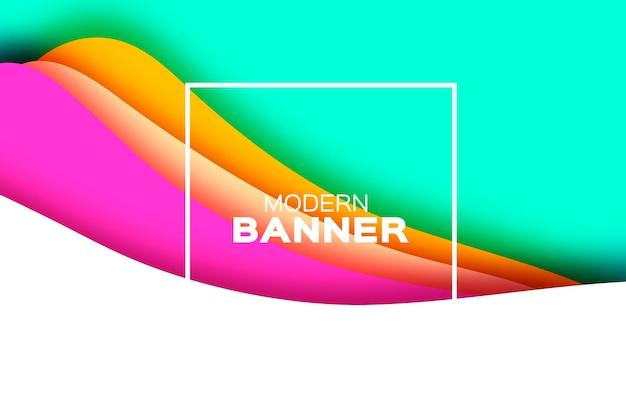 Fundo abstrato 3d com formas de corte de papel bandeira de onda da paisagem do túnel em camadas