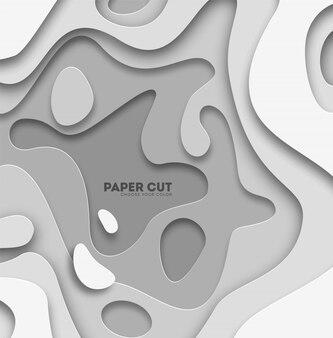Fundo abstrato 3d com formas de corte de papel branco