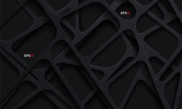 Fundo abstrato 3d com formas de corte de papel escuro Vetor grátis