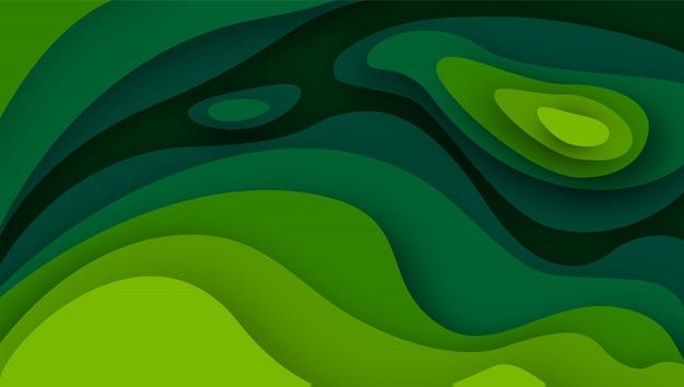 Fundo abstrato 3d com formas de corte de papel verde