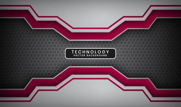 Fundo abstrato 3d de tecnologia prata e vermelho com camada de sobreposição e hexágonos metálicos