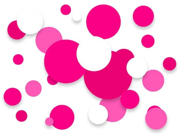 Fundo abstrato abstrato de forma de círculo rosa e branco.