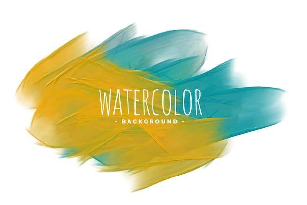 Fundo abstrato amarelo e azul com textura aquarela
