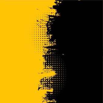 Fundo abstrato amarelo e preto com textura suja de grunge
