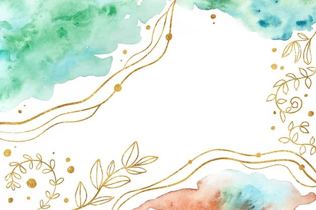 Fundo abstrato aquarela com folhas