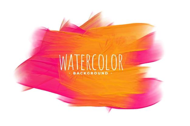 Fundo abstrato aquarela em tons de rosa e laranja