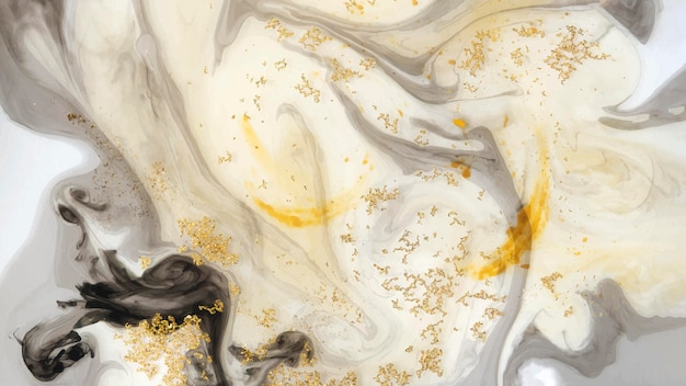 Fundo abstrato aquarela preto e glitter dourado