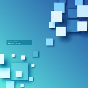 Fundo abstrato azul com efeito 3d quadrados