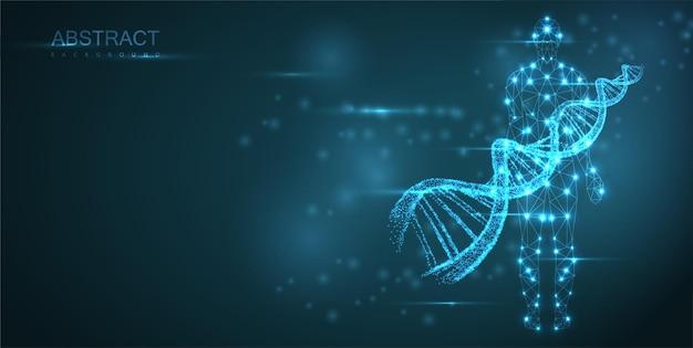 Fundo abstrato azul com hélice de néon de molécula de dna luminosa e silhueta humana