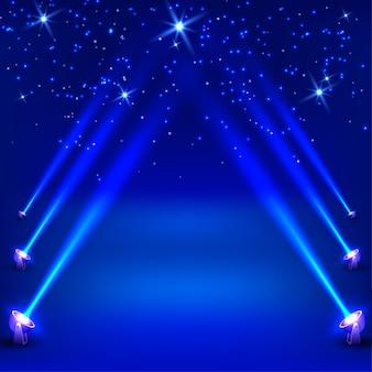 Fundo abstrato azul com raios de holofotes. ilustração vetorial