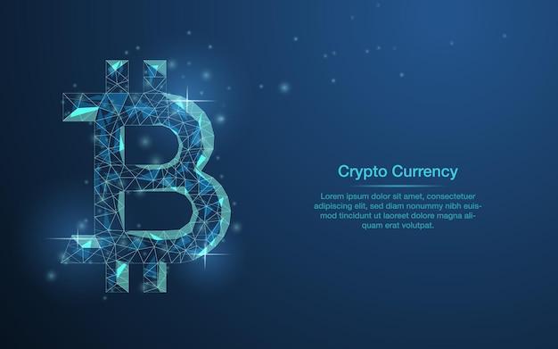 Fundo abstrato azul de criptomoeda bitcoin cristal de diamante do símbolo bitcoin em azul escuro