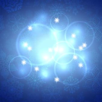 Fundo abstrato azul do inverno. fundo de natal com flocos de neve. vetor.