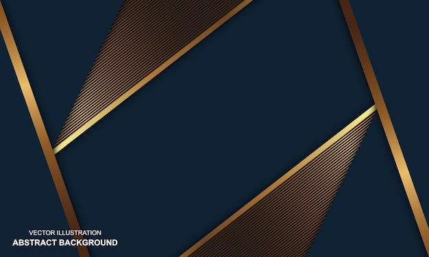 Fundo abstrato azul dop com design moderno de linhas douradas