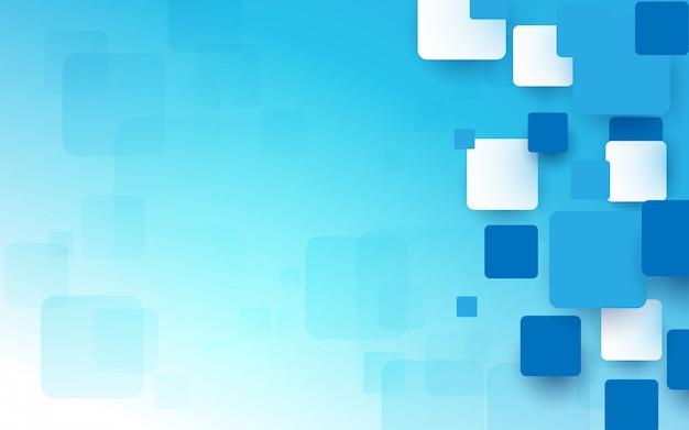 Fundo abstrato azul e branco quadrados geométricos