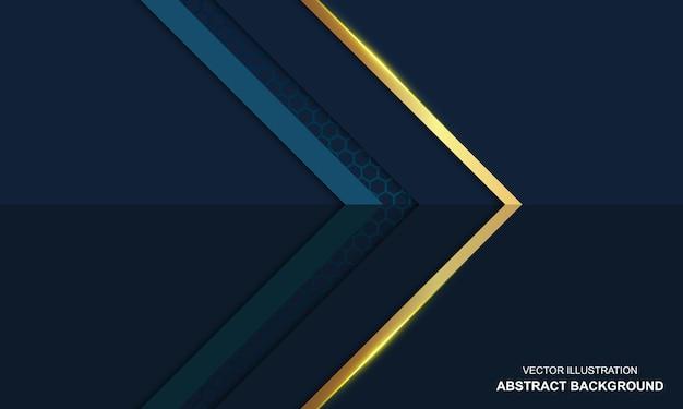Fundo abstrato azul e dourado luxuoso moderno