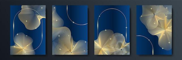 Fundo abstrato azul e dourado. modelo abstrato de fundo premium de luxo azul escuro com padrão de triângulos de luxo e linhas de iluminação douradas