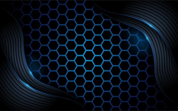 Fundo abstrato azul escuro de hexágono