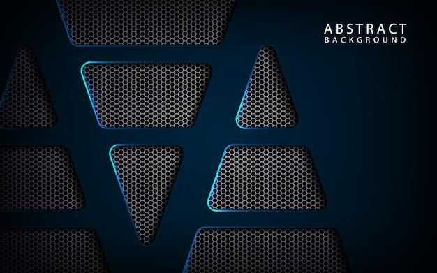 Fundo abstrato azul tecnologia metálica no espaço escuro